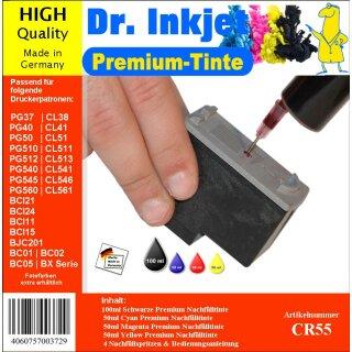 CR55 - 250ml Starterpack Dr. Inkjet Premium Nachfülltinte  für Drucker  mit 4 Farben - Alles drin Packung