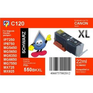 C120 - PGI-550BKXL - schwarz - TiDis Ersatzdruckerpatrone mit 22ml Inhalt