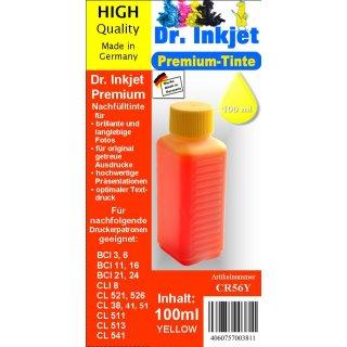 CR56Y - yellow - Dr.Inkjet Premium Nachfülltinte in 100ml - 250ml - 500ml - 1000ml Abfüllungen für Canon Druckerpatronen