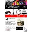 10x UNISUB Tischuhr mit Acryl-Halter, Größe...