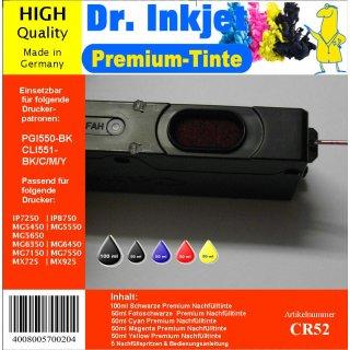 CR52 - 300ml Starterpack Dr. Inkjet Premium Nachfülltinte  für Canondrucker  mit 5 Farben - Alles drin Packung - für PGI550 + CLI551 CMYK