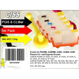 CISS Easyrefillpatronen mit ARC für PGI5 & CLI8er -ohne Tinte-