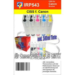 Ciss für Canon PGI5 + 4x CLI8 ( CMYK ) mit Autoresettchips plus 500ml Nachfülltinte (Uni550)