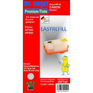 CISS Easyrefillpatrone mit Automatikchip für CLI521GY  -ohne Tinte-