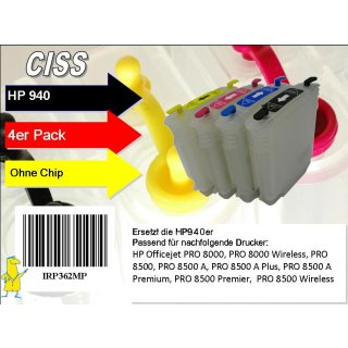 H940 CISS / Easyrefillpatronen Set ohne Chips