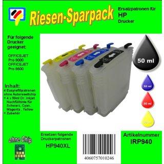 H940 CISS / Easyrefillpatronen Komplettset -ALLES DRIN- ohne Chips
