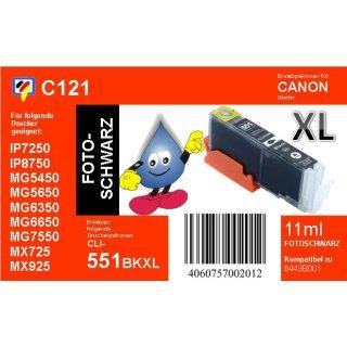 C121 - CLI-551BKXL - schwarz - TiDis Ersatzdruckerpatrone mit 11ml Inhalt