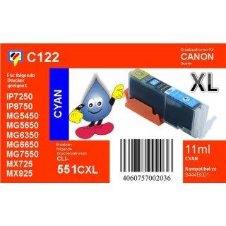 C122 - CLI-551CXL - cyan - TiDis Ersatzdruckerpatrone mit 11ml Inhalt