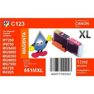 C123 - CLI-551MXL - magenta - TiDis Ersatzdruckerpatrone mit 11ml Inhalt