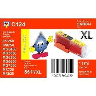 C124 - CLI-551YXL - yellow - TiDis Ersatzdruckerpatrone mit 11ml Inhalt