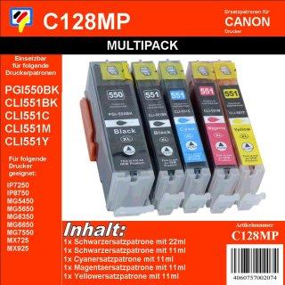 C128MP - Multipack - 5 TiDis Ersatzdruckerpatronen -KCMYK-  ersetzen PGI550 und CLI551