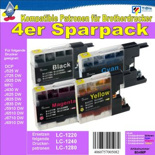 LC-1280 TiDis XL Multipack- je 1 Ersatzdruckerpatrone Black, Cyan, Magenta, Yellow - ersetzt die LC-1280, LC-1240, LC-1220