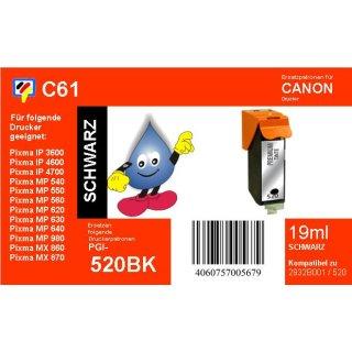 C61  TiDis Ersatzdruckerpatrone für - PGI520BK - schwarz - mit 19ml Inhalt