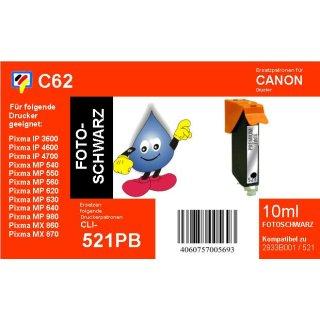 C62  TiDis Ersatzdruckerpatrone für - CLI521BK - schwarz - mit 10ml Inhalt