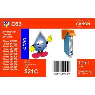 C63  TiDis Ersatzdruckerpatrone für - CLI521C - cyan - mit 10ml Inhalt