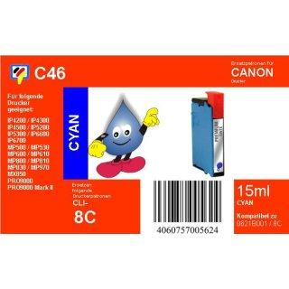 C46 - TiDis Ersatzpatrone für CLI8C - cyan - mit 15ml Inhalt
