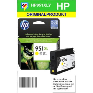 HP951YXL - Original CN048AE - yellow - Druckpatrone Nr. 951Y mit ca. 1.500 Seiten Druckleistung nach Iso