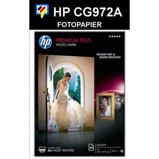 A4 Inkjet Fotopapier HP PREMIUM PLUS GLOSSY  300g/m2 in 20 Blatt Packung - CR672A