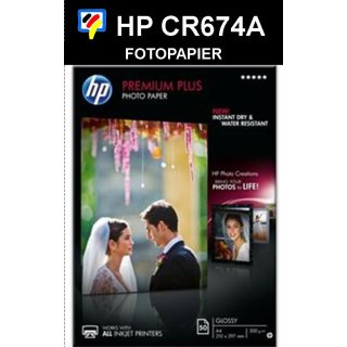 A4 Inkjet Fotopapier HP PREMIUM PLUS GLOSSY A4 300g/m2 in 50 Blatt Packung - CR674A -