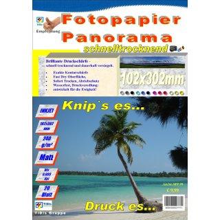 "SPP99 - Panorama Fotopapier 102x302mm Matt >> ""Für alle Tintenstrahldrucker geeignet"" << 20 Blatt Pack"
