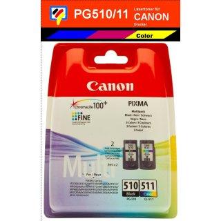 PG510 + CL511 - schwarz + color - Multipack Canon Original Druckerpatronen -2970B010-
