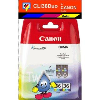 CLI-36 -color- Canon Druckerpatronen Duopack mit 2x 13ml Inhalt -1511B001-