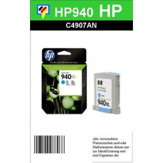 HP940C - Original C4907AE - cyan - Druckpatrone mit 16ml Inhalt mit ca. 1.400 Seiten Druckleistung nach Iso