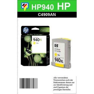 HP940Y - Original C4909AE - gelb- Druckpatrone mit 16ml Inhalt mit ca. 1.400 Seiten Druckleistung nach Iso