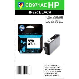 HP920BK - Original CD971AE - schwarz- Druckpatrone mit 24ml Inhalt und ca. 420 Seiten Druckleistung nach Iso