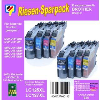 LC-127XLBK + LC-125XL C/M/Y Riesensparpack TiDis Ersatzdruckerpatronen XL - 8x 1.200 Seiten nach ISO - für Brother MFC-J4110DW, MFC-J4510DW, MFC-J4610DW, MFC-J4710DW, MFC-J6720DW - je 2x TiDispatrone XL Black, Cyan, Magenta, Yellow Riesensparpack -