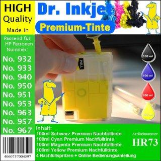 HR73 - Dr. Inkjet Nachfüllset mit 400ml Premium Pigmentierte Druckertinte - Alles drin Packung