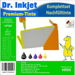 HR50 - Dr. Inkjet Komplett 300ml Set Premium Pigmentierte Nachfülltinte - Alles drin Packung - (BK/C/M/Y/PBK)
