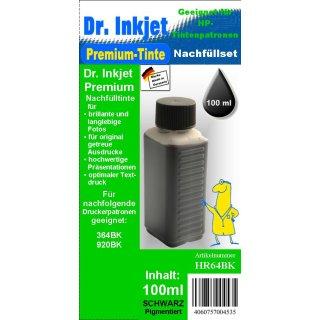 HR64BK - black - Dr.Inkjet Premium Nachfülltinte in 100ml - 250ml - 500ml - 1000ml Abfüllungen für Ihren HP Drucker