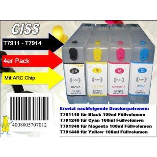 T7911-T7914 Multipack mit 4 Patronen - IRP790MP - 4 CISS / Easyrefill / Leerpatronen