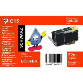C15 - TiDis Ersatzdruckerpatrone mit 27ml Inhalt - BCI3eBK -schwarz -