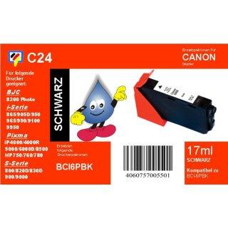 C24 - TiDis Ersatzdruckerpatrone mit 17ml Inhalt - BCI6BK -schwarz -
