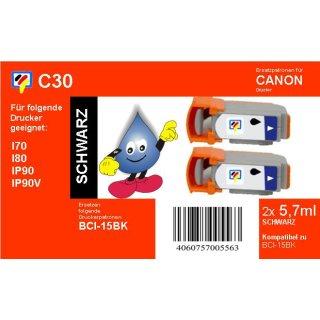 C30 - TiDis 2 Ersatzdruckerpatronen mit je 5,7ml Inhalt - BCI15BK - schwarz -