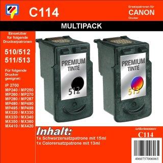 C114 - TiDis Multipack mit 2 Ersatzpatronen  - schwarz & color -