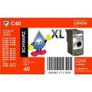 C40 - TiDis Ersatzdruckerpatrone mit 22ml Inhalt - PG40 / PG50  - schwarz -