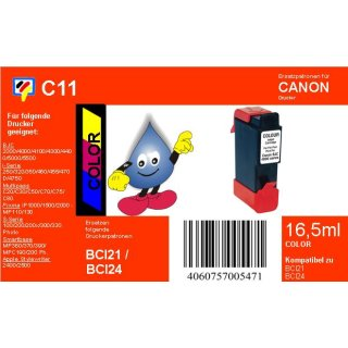 C11 - TiDis Ersatzdruckerpatrone mit 16,5ml Inhalt - BCI24 / BCI21C - color -