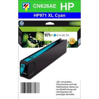 HP971CXL - Original CN626AE - cyan - Druckpatrone Nr. 971XL mit ca. 6.600 Seiten Druckleistung nach Iso
