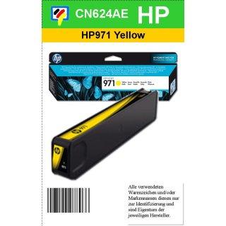HP971Y - Original CN624AE - yellow - Druckpatrone Nr. 971 mit ca. 2.500 Blatt Druckleistung nach Iso