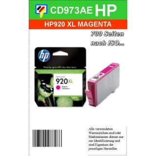 HP920MXL - Original CD973AE - magenta- Druckpatrone mit 6ml Inhalt und ca. 700 Seiten Druckleistung nach Iso