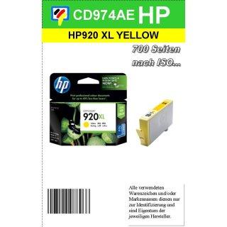 HP920YXL - Original CD974AE - gelb- Druckpatrone mit 6ml Inhalt und ca. 700 Seiten Druckleistung nach Iso