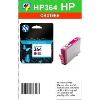 HP364M - Original CB319EE - magenta - Druckpatrone mit 3ml Inhalt und ca. 300 Seiten Druckleistung nach Iso