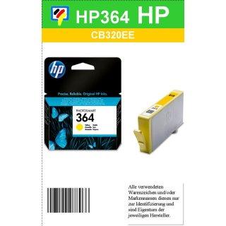 HP364Y- Original CB320EE - gelb - Druckpatrone mit 3ml mit ca. 300 Seiten Druckleistung nach Iso