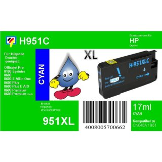 HP951C - TiDis Ersatzpatrone - cyan - mit 17ml Inhalt ersetzt CN046A/HP951CXL