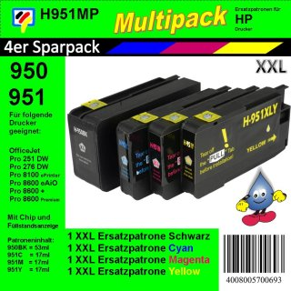 HP951MP - TiDis Multipack  mit 4 XL Ersatzpatronen für HP950/HP951XL Patronen