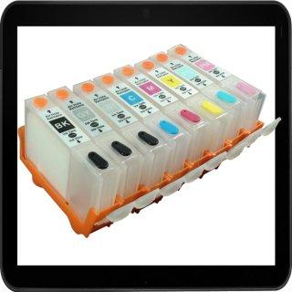 CLI-42 CISS / Easyrefillpatronen - je 1x für Black, GY, LGY, Cyan, PC, Magenta, PM, Yellow mit Autoresettchip - ohne Tinte -