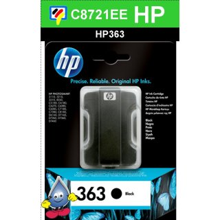 HP363BK - Original C8721EE - schwarz -Druckpatrone mit 6ml Inhalt zum Superangebot